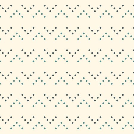 Polka dot seamless pattern. Repeated dotted zigzag stripes texture. Round spots motif. Mini circles abstract wallpaper. Simple minimalist geometric background. Vector digital paper, textile print Stock Illustratie