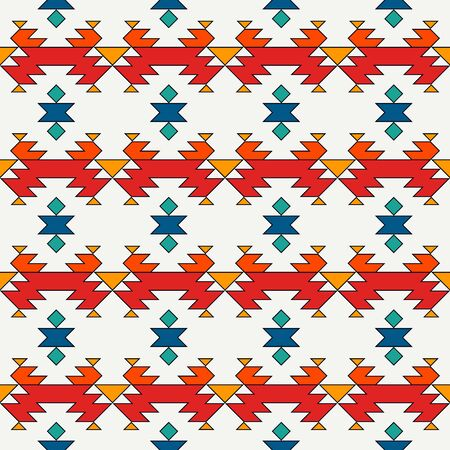 Ethnic, tribal seamless pattern. Native americans embroidery textile stylized surface print. Boho chic ornament. Repeated triangles geometric background. Colorful mosaic wallpaper. Vector abstract