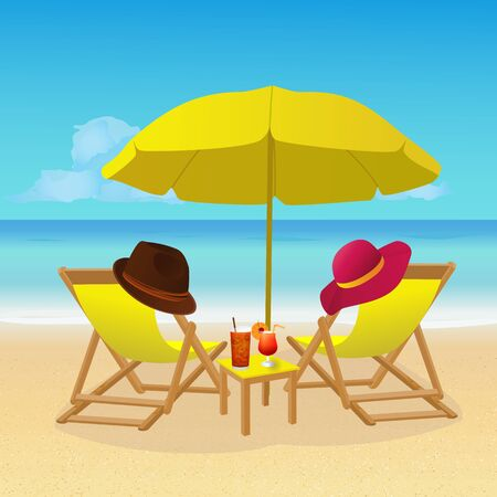 Chaise lounges with umbrella on idyllic tropical sandy beach. Seaside landscape background. Summer holiday vacation, exotic seashore resort, travel concept wallpaper. Vector illustration