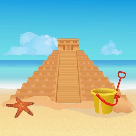 Sandcastle on tropical beach. Mayan pyramid made from sand. Seaside landscape background. Summer holiday vacation, tropical seashore resort, Mexican travel concept wallpaper. Vector illustration