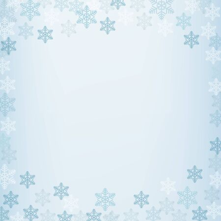 Winter border with white and blue snowflakes on blue blurred soft background. Christmas and New Year holiday wallpaper. Vector illustration.  イラスト・ベクター素材