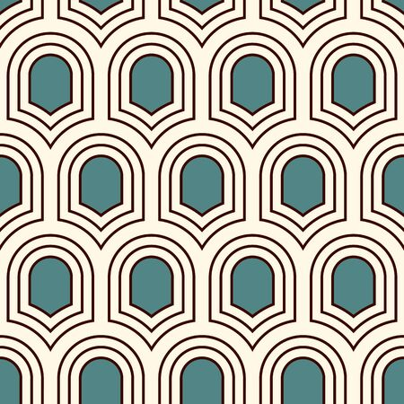 Seamless surface pattern with repeated ancient shields. Geometric figures abstract background. Simple ornament with scale motifs. Digital paper, textile print, page fill. Vector art.  イラスト・ベクター素材
