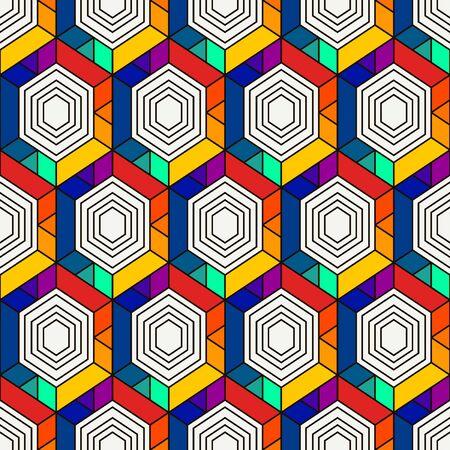 Honeycomb seamless pattern. Hexagon mosaic tiles ornament. Ethnic surface print. Repeated geometric figures background. Ornamental wallpaper. Modern geo design digital paper. Vector abstract art