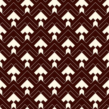 Arrows, scales seamless pattern. Ethnic, tribal print. Squama, chevrons ornament. Repeated arrowhead, triangular shapes background. Native americans ornamental wallpaper. Vector abstract digital paper Ilustração