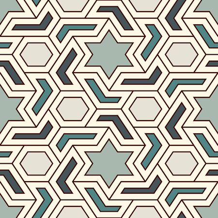 Oriental ancient mosaic seamless pattern. Ethnic ornament. Repeated geometric figures, hexagons, stars motif surface print. Ornamental wallpaper. Geo design digital paper. Vector abstract background