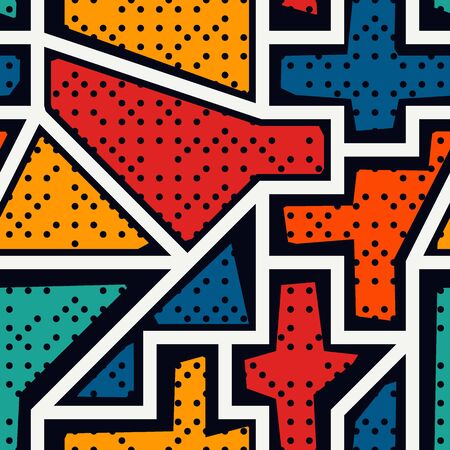 Bright modern seamless pattern. Geometric pop art style dotted surface print. Repeated irregular chaotic grain, geo shapes motif. Vivid contemporary design texture. Vector graffiti abstract background
