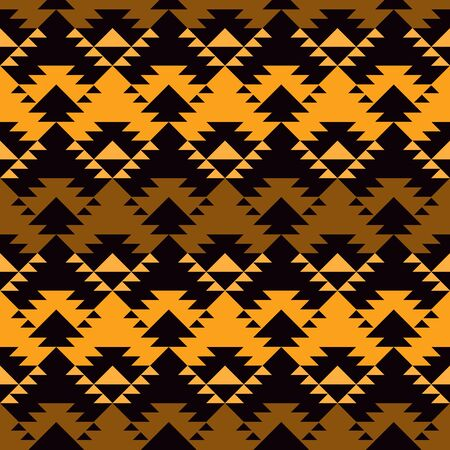 Ethnic, tribal seamless pattern. Native americans embroidery textile stylized surface print. Boho chic ornament. Repeated triangles geometric background. Mosaic wallpaper. Vector abstract  イラスト・ベクター素材