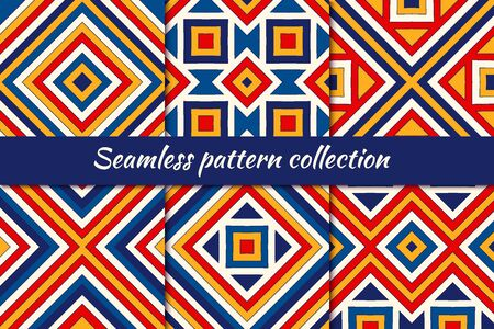 Bright ethnic seamless pattern collection. Folk, tribal design backgrounds set. Eclectic embroidery surface print kit. Boho chic geometric ornaments. Vector geo digital paper, abstract wallpaper