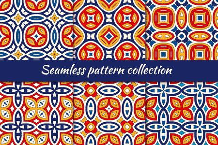 Bright ethnic seamless pattern collection. Folk, tribal design backgrounds set. Oriental mosaic tiles. Eclectic embroidery print kit. Kaleidoscope ornaments. Vector digital paper, abstract wallpaper