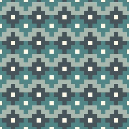 Chakana inca crosses seamless pattern. Ethnic embroidery style surface print. Ancient native american mosaic background. Ornamental folk wallpaper. Geometric ornament. Geo vector abstract illustration
