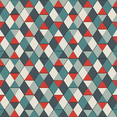 Seamless pattern with stained glass mosaic. Interlocking triangles tessellation. Contemporary print with repeated hexagons. Modern abstract ornamental background. Geometric motif. Vector digital paper