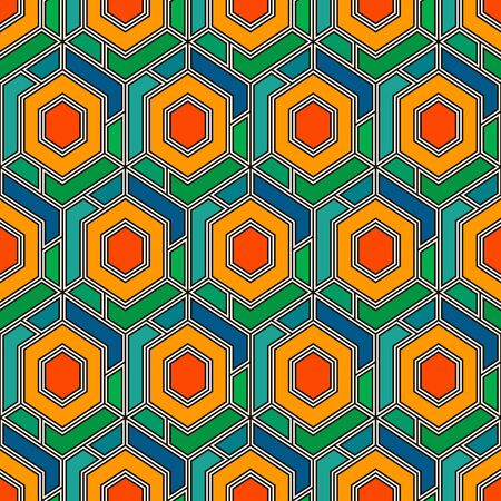 Contemporary honeycomb geometric pattern. Repeated hexagons ornament. Modern mosaic background. Seamless surface abstract design. Geo wallpaper. Digital paper, textile print. Vector art Banque d'images - 140749963