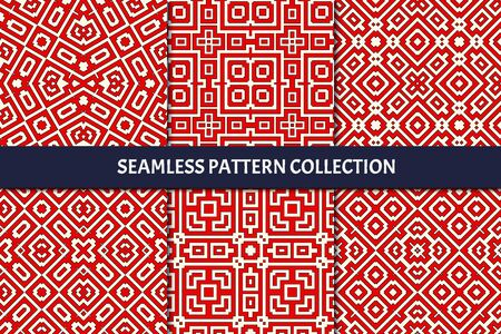 Ethnic seamless pattern collection. Folk, tribal design backgrounds set. Oriental mosaic tiles. Eclectic embroidery print kit. Kaleidoscope ornaments. Vector digital paper, abstract wallpaper Illustration