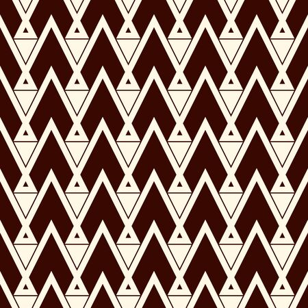 Ethnic style seamless pattern with repeated triangles. Zigzag lines motif. geometric ornament. Native americans background. Tribal Boho chic digital paper, textile print, page fill. Vector art Vettoriali