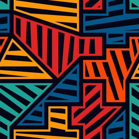 Modèle sans couture moderne lumineux. Impression de surface géométrique de style pop art. Motif géométrique répété à rayures diagonales. Texture de design créatif contemporain vif. Fond artistique de graffiti de vecteur