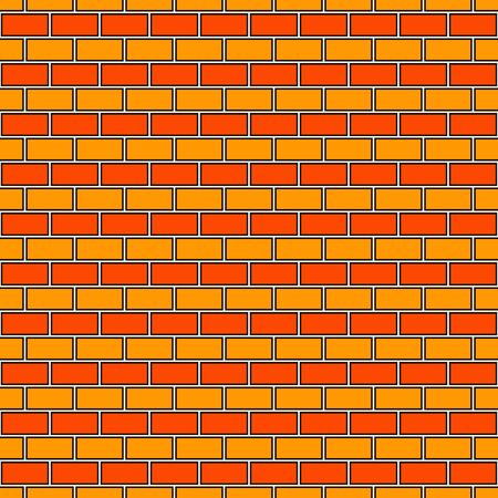 Brick wall abstract background. Orange colors seamless pattern with classic geometric ornament. Bricks motif. Repeated rectangular blocks. Digital paper, textile print. Vector art