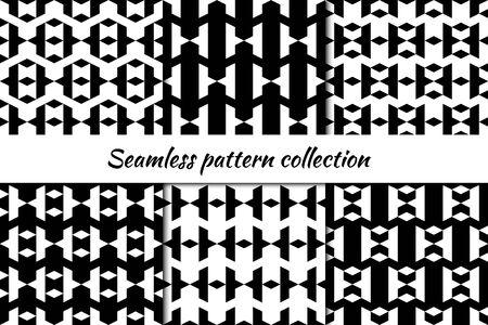 Seamless patterns collection. Rhombuses, chevrons, forms backgrounds set. Diamond shapes ornaments. Lozenges figures backdrops kit. Ethnic motif. Textile print, abstract illustration. Vectors bundle