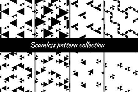 Triangles, rhombuses, diamonds, lozenges eamless patterns collection. Folk prints. Ethnic ornaments set. Tribal wallpapers kit. Geometrical backgrounds. Retro motif. Abstract images.