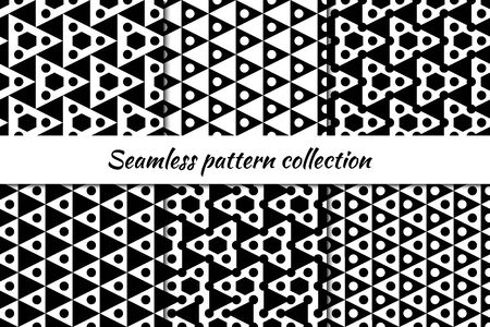 Circles, triangles, hexagons seamless patterns collection. Folk prints. Ethnic ornaments set. Tribal wallpapers kit. Geometrical backgrounds. Retro motif. Abstract images. Vector illustrations bundle Ilustrace