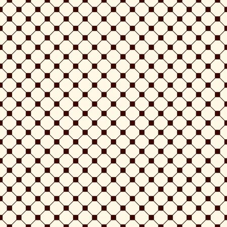 Repeated outline octagons and squares abstract background. Minimalist seamless surface pattern with geometric ornament. Simple modern print. Checkered wallpaper. Vector art