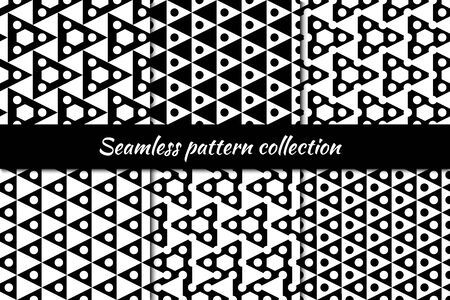 Circles, triangles, hexagons seamless patterns collection. Folk prints. Ethnic ornaments set. Tribal wallpapers kit. Geometrical backgrounds. Retro motif. Abstract images. Vector illustrations bundle Ilustração