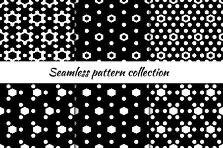 Hexagons, circles, figures seamless patterns collection. Folk prints. Ethnic ornaments set. Tribal wallpapers kit. Geometrical backgrounds. Retro motif. Abstract images. Vector illustrations bundle.