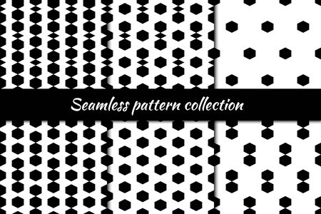 Hexagons, rhombuses, diamonds, lozenges seamless patterns collection. Folk prints. Ethnic ornaments set. Tribal wallpapers kit. Geometrical backgrounds. Retro motif. Abstract images. Vectors bundle. Ilustração