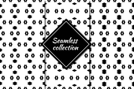 Ethnic seamless patterns collection. Simple shapes prints. Folk ornaments set. Geometric images. Tribal wallpapers kit. Geometrical backgrounds. Retro motif. Abstract vectors bundle. Ilustração