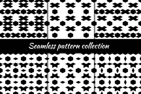 Diamonds, rhombuses, lozenges, hexagons, figures seamless patterns collection. Folk prints. Ethnic ornaments set. Tribal wallpapers kit. Geometrical backgrounds. Retro motif. Abstract vectors bundle