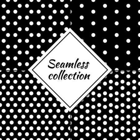 Dots seamless patterns collection. Folk prints. Dot, circle shapes images. Ethnic ornaments set. Circles wallpapers kit. Geometrical backgrounds. Rounds motif. Abstract illustrations. Vectors bundle. Ilustração