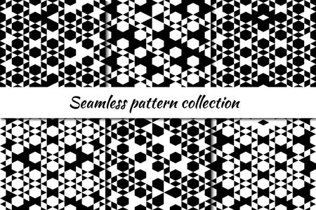 Hexagon, rhombuses, diamond, lozenges triangle seamless pattern collection. Folk prints. Ethnic ornament set. Tribal wallpaper kit. Geometrical background. Retro motif. Abstract images. Vector bundle
