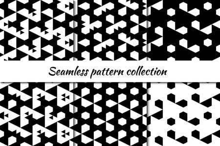 Hexagons, pentagons, triangles, figures seamless patterns collection. Folk prints. Ethnic ornaments set. Tribal wallpapers kit. Geometrical backgrounds. Retro motif. Abstract images. Vectors bundle. Ilustração