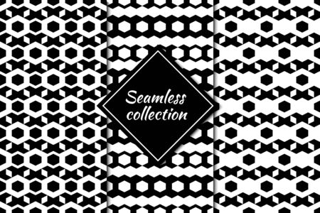 Hexagons, figures seamless patterns collection. Geometrical images. Folk prints. Ethnic ornaments set. Tribal wallpapers kit. Geometrical backgrounds. Retro motif. Abstract vectors bundle.