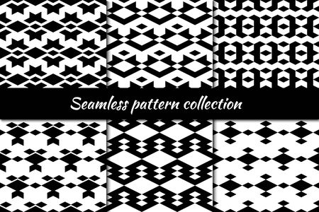 Rhombuses, figures seamless patterns collection. Lozenges shapes backdrops kit. Diamond forms ornaments set. Folk backgrounds. Ethnic motif. Digital paper, textile print, abstract. Vectors bundle.