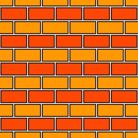 Brick wall abstract background. Orange colors seamless pattern with classic geometric ornament. Bricks motif. Repeated rectangular blocks. Digital paper, textile print. Vector art