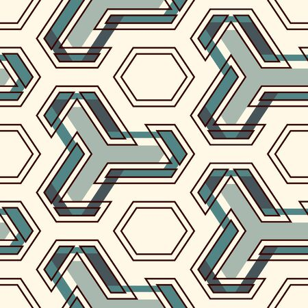 Contemporary geometric pattern. Geo ornament. Repeated figures. Modern background. Seamless surface abstract design. Ethnic wallpaper. Digital paper, textile print. Vector art