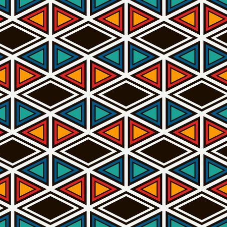 Ethnic, tribal seamless surface pattern. Native americans style background. Repeated diamond, triangles ornament. Geometric figures motif. Boho chic digital paper, textile print. Modern geo wallpaper. Vektorové ilustrace