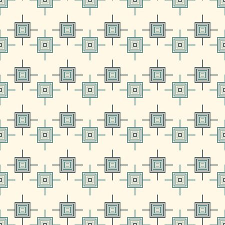 Seamless pattern. Mexican god's eye mandala style motif background. Ethnic surface print. Ornamental folk wallpaper. Simple geometric ornament with squares, crosses. Geo vector abstract illustration