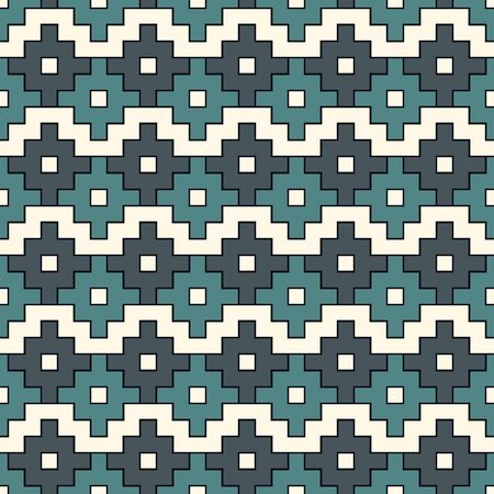 Chakana inca crosses seamless pattern. Ethnic embroidery style surface print. Ancient native american mosaic background. Ornamental folk wallpaper. Geometric ornament. Geo vector abstract illustration Vector Illustration