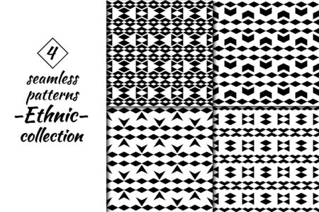 Rhombuses figures seamless patterns collection. Diamond shapes ornaments set. Folk backdrops. Lozenges forms backgrounds kit. Ethnic motif. Digital paper, textile print, abstract. Vectors bundle.