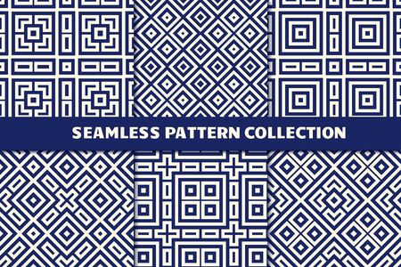 Ethnic seamless pattern collection. Folk, tribal design backgrounds set. Eclectic striped print kit. Mirrored geometric ornaments. Vector geo digital paper, abstract wallpaper