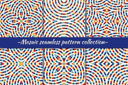 Ethnic seamless pattern collection. Folk, tribal design backgrounds set. Eclectic zig zag striped print kit. Mirrored geometric ornaments. Vector geo digital paper, abstract wallpaper