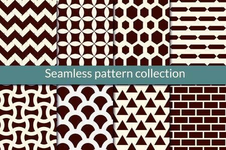 Classic geometric seamless pattern collection. Geo design background set. Zig zag lines, hexagons, triangles, scale, brickwall, stars motif print bundle. All ornaments were added in swatches palette