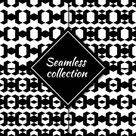 Rhombuses, diamonds, lozenges, triangles seamless patterns collection. Folk prints. Ethnic ornaments set. Tribal wallpapers kit. Geometrical backgrounds. Retro motif. Abstract images. Vectors bundle.