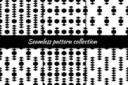Diamonds, rhombuses, lozenges, hexagons seamless patterns collection. Folk prints. Ethnic ornaments set. Tribal wallpapers kit. Geometrical abstract backgrounds. Retro motif images. Vectors bundle. Vectores