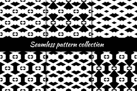 Rhombuses, diamonds, lozenges, hexagons chevrons arrows seamless patterns collection. Folk prints. Ethnic ornaments set. Tribal wallpapers kit. Retro motif. Abstract images. Vector artworks bundle.