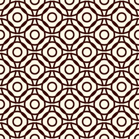 Brown colors seamless pattern with repeated overlapping circles. Round links chain motif. Geometric abstract background. Simple modern surface texture. Digital paper, textile print, page fill. Vector
