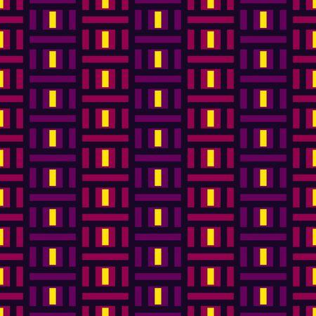 Geometric seamless pattern. Bauhaus style background. Modular grid print. Straight stripe, line, stroke, rectangle, block ornament. Trendy contemporary geo wallpaper. Modern abstract vector design Illustration
