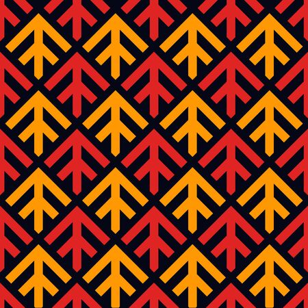 Arrows, scales seamless pattern. Ethnic, tribal print. Squama, chevrons ornament. Repeated arrowhead, triangular shapes background. Native americans ornamental wallpaper. Vector abstract digital paper Illustration