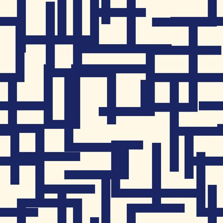 Geometric seamless pattern. Modern maze print. Aymmetric labyrinth ornament. Repeated lines, blocks bauhaus style background. Contemporary minimal geo wallpaper. Abstract vector design Illustration